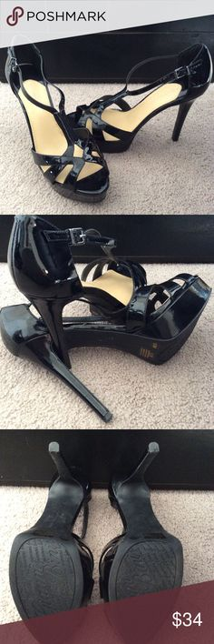 Gianni Bini Heels Black patent leather hills. Heel is 5 inches with 1 inch platform. Right heel has scuffing as shown in last picture but is not noticeable at all when wearing. Interior is padded for comfort. Worn twice. I do not have the original box, sorry. Gianni Bini Shoes Heels