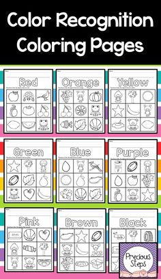Color Recognition Activities Color recognition coloring sheets for preschool or kindergarten! Kindergarten Colors, Preschool Colors, Teaching Colors, Homeschool Kindergarten, Teaching Shapes, Teaching Ideas, Color Worksheets For Preschool, Preschool Learning Activities, Preschool Printables