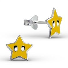 Children's 925 Sterling Silver Earrings - Yellow Funky Star Studs 7mm - Boxed in Jewellery & Watches, Fine Jewellery, Fine Earrings | eBay