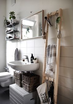 Ideas Bathroom Storage Ideas Diy Ikea Hacks For 2019 Diy Bathroom, Bathroom Hacks, Small Bathroom Storage, Simple Bathroom, Bathroom Organization, Storage Organization, Bathroom Vanities, Bathroom Ideas, Bathroom Ladder
