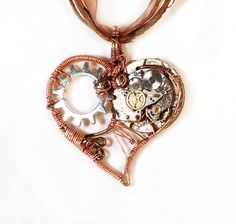 Small Heart Steampunk Pendant by MelsMakeBelieve on Etsy, $28.00