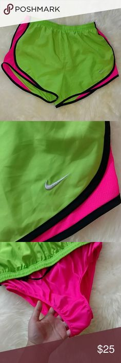 🆕 👯 Neon Nike Running Shorts Dri-fit running shorts in bold neon green and hot pink with black trim. Built-in underwear. A little loose on me. Brand new with tags still attached. Nike Shorts