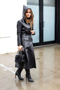 Hooded leather trench coat and boots...sexy!
