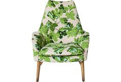 Midcentury Danish Lounge Chair with Peter Dunham Fig Leaf Fabric