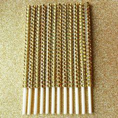Gold Bling Cake Pop Sticks Candy Bar Supply Dessert Buffet Sticks Gold Bling Lollipops Sticks