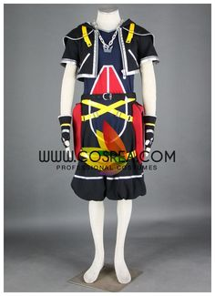 Costume Detail Kingdom Hearts II Sora Cosplay Costume Set Includes: Inner Top, Jacket, Pants, Necklace, Pouch Set, Gloves Please see individual tabs for information including: -available sizes for thi