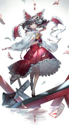Shrine Maiden of Paradise - touhou Girls Anime, Anime Art Girl, Manga Girl, Anime Guys, Touhou Anime, Shrine Maiden, Satsuriku No Tenshi, Chica Anime Manga, Anime Poses