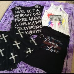 ROCKER/MUSIC STYLE (5) Piece Bundle FEEL THE MUSIC!!! Listing for 4 super cute rocker/music themed tops (see photos for measurements) & rocker bangle  1.  OLD SCHOOL STEREO white tank | Tag size: S     2. Sheer Black cross Tank | Fits like S/M                       3. SGT PEPPER Black Loose Muscle Tee | Tag size: L      4. GRAFFITI WRITING Black Loose Tee | Tag size: M         5.  Skull/Cross costume silver bangle Tops