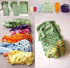 Way cool! Reusable produce bags made from t-shirts Follow Us! ---- DIY Home Decorating