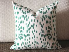 Designer style ,green Pillow, it very beautiful! hope you will love it.   Cotton and linen blend fabric   *Front Only: in the picture is green Pillow Cover. pattern Italy digital printing Fabric *Back Only: as the same as front  *This listing is for One Pillow Cover. The Pillow Insert is not included. - Invisible zipper enclosure for a tailored look - All seam are surged and double stitch for durability and professional finish - Dry clean recommended.     All Pillows are Made To Order Turn…