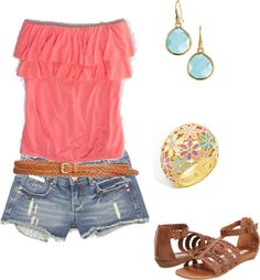 Coral and aqua... Love the everything but the sandals!