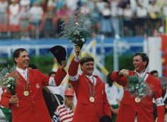 Equestrian, Jumping team competition (Barcelona 1992). Jos Lansink, Piet Raijmakers and Jan Tops