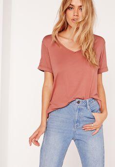 Missguided - Boyfriend V-Neck T-Shirt Pink