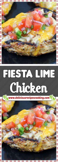 Fiesta Lime Chicken Via #deliciousrecipescookingcom #chickensalad #chickenrecipes #chickendinner #Fiesta #Lime #chickencasserole