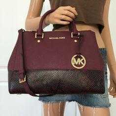 Michael Kors Sutton Medium Embossed Saffiano Leather Satchel Purse Marlot   eBay