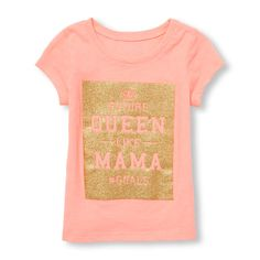 000ccf16db0 Toddler Girls Short Sleeve Glitter  Queen Like Mama Hashtag Goals  Graphic  Tee Toddler Girl