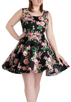 Day off the Grid Dress in Blossoms - Plus Size - Black, Multi, Floral, Casual, A-line, Tank top (2 thick straps), Scoop, Daytime Party, Summer