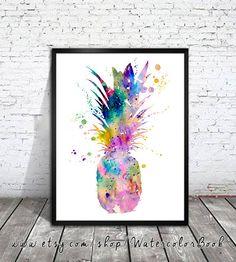 Pineapple Watercolor Print watercolor painting от WatercolorBook, $15,00