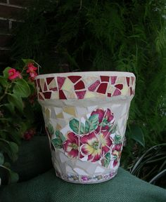 Mosaic Pot with heirloom red roses $45