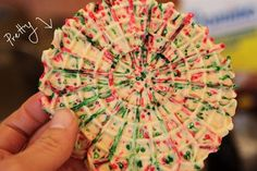 Christmas Pizzelle - Roll the dough into small balls, then coat with sprinkles. Press them into the pizzelle iron and close the lid. So pretty! I always make Pizelle's, but never thought of this! Pizzelle Cookies, Pizzelle Recipe, Cookies Et Biscuits, Pizzelle Maker, Italian Cookies, Italian Desserts, Italian Foods, Cookie Brownie Bars, Cookie Desserts