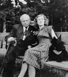 Heinrich Hoffmann with Eva Braun and her two Scottish Terriers. This image was included in pages of Eva Braun's photo albums and cataloged as such when I viewed and photographed it in the National Archives. (via gentleman-blackbird)