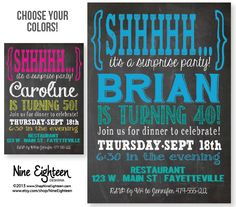 Surprise Birthday Party Invitatio Adult. Custom Printable PDF/JPG. I design, you print. Choose your colors. Made to Match add ons available. Custom by NineEighteen, $12.00