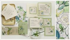 Hand painted white rose Wedding Stationery from Momental Designs