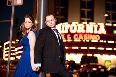 bride and groom outside the California Casino near Fremont Street Las Vegas