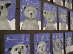My Grade Ones made these cute polar bears back in February. Materials: black construction paper blue construction paper whit...