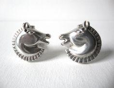 Antonio Pineda Sterling Silver Art Deco Horse Head Cufflinks Taxco Mexico by CastEyesUpon, $375.00