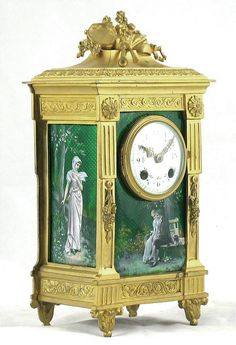 A Fine Louis XVI Style Gilt-Bronze and Green Enamel Mantel Clock from adrianalan.com