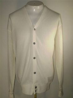 Mens Vintage The Fox Collection Cardigan Sweater White Acrylic USA Size XL #TheFoxCollection #Cardigan