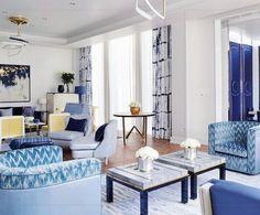 Blue interior decor #home #summer #fabrics