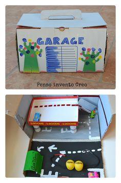 #Riciclo Creativo per #bambini: #Garage di #cartone per le macchinine da portare in vacanza #cardboard