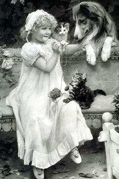 9x6 Art Print Victorian Girl Playing Teacher Pet W/ Cat Kitten Dog Rough Collie
