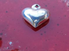 Summer Sale Sterling Silver Puffy Heart Charm Pendant by PGSCoins