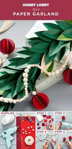 Trace leaves onto cardstock and glue along a strand of wood beads to create a bright and colorful Christmas garland for your home!