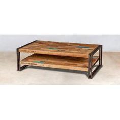 Table basse rectangle bois recyclé double plateaux 120x70 CARAVELLE