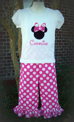 Custom Boutique Clothing Girls Hot Pink Polka Dot Disney's Minnie Mouse Applique Pants or Capri Set, Size 3mos to 6yr. $42.00, via Etsy.