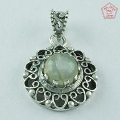 Real Sterling Silver Pendant Rainbow Moon Stone Jewelry S.3.5 cm P2484…