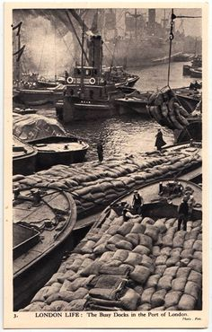 An poster sized print, approx (other products available) - London Life - The Busy Docks of the Port of London Date: circa 1940 - Image supplied by Mary Evans Prints Online - Poster printed in the USA Victorian London, Vintage London, Old London, London City, East London, London 1800, London Docklands, London History, British History