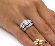 14K White Gold Halo Bridal Wedding 2.80 Ct Diamond Engagement Band Ring Set #giftjewelry22 #EngagementRingWeddingRingAnniversaryRing