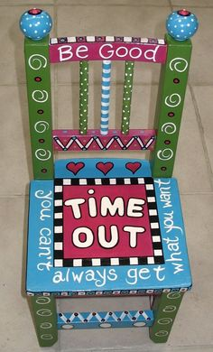 Time Out Chair.cute but is it too cute that a kid would want to be in time out? Funky Painted Furniture, Painted Chairs, Kids Furniture, Painted Tables, Decoupage Furniture, Furniture Design, Furniture Stencil, Colorful Furniture, Chair Design