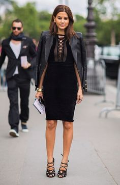 Vogue Australia fashion editor Christine Centenera 2013 street style - black on black