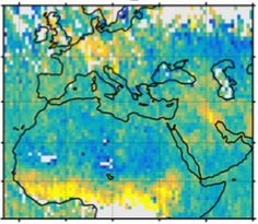 A map shows human carbon dioxide emissions over Europe, the Middle East and northern Africa. High emissions over Germany and Poland (top center) and Kuwait and Point Cloud, Global Map, Vital Signs, Greenhouse Gases, Archaeology, Climate Change, Cosmos, Planets, Africa