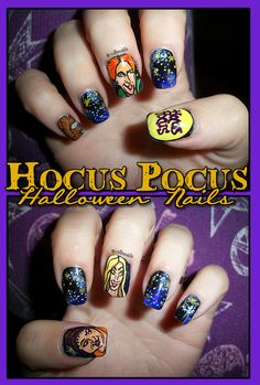 "If you're feeling fancy, you can go all-out and pay tribute to a different part of the movie on each nail. | A ""Hocus Pocus"" Manicure Is The Only Costume Your Nails Need"