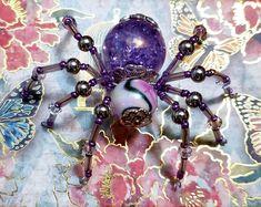 Beaded Spider Ornament | Etsy Christmas Spider, Halloween Spider, Metal Beads, Glass Beads, Ceramic Christmas Tree Lights, Beaded Spiders, Black Tree, Beaded Skull, Bead Caps