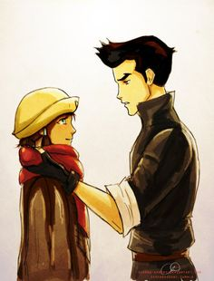 "I just think this is sweet: ""Korra and Mako's Scarf"" by =Serena-Kenobi"