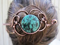 Reconstituted Turquoise Copper Hair Piece with Stick