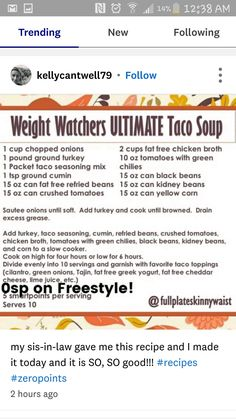 43 trendy ideas for weight watchers tacos soup recipe gluten free Weight Watcher Taco Soup, Weight Watcher Dinners, Weight Watchers Smart Points, Weight Watchers Chicken, Weight Watchers Desserts, Lose Weight, Weight Loss, How To Eat Better, Ww Recipes